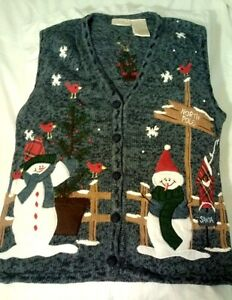 Ugly-or-not-Christmas-womens-sweater-Bobbie-Brooke-snowmen-Medium
