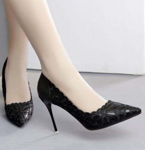 Decolte Cm Elegante Pelle 10 Stiletto Spillo Donna 9460 Scarpe Nero Simil rHwfqn7BH