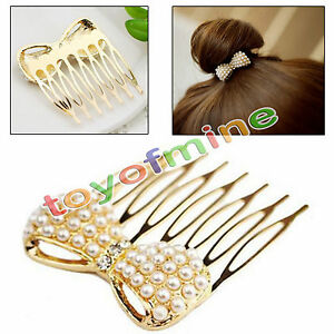 Fashion-Cute-Pearl-bow-exquisite-little-comb-hair-jewelry