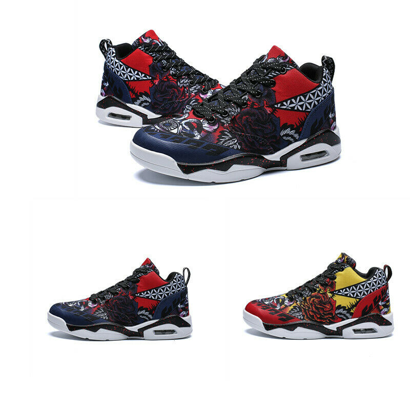 Mens Splice color Lace Up Mesh Printing High Top Basketball shoes Breathable Hot