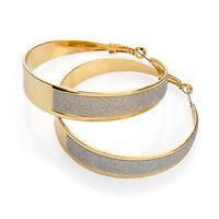 Ladies Large Gold Coloured Hoop Earrings Glitter Ladies Fashion Jewellery