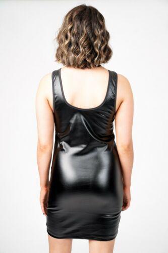 PVC Mini Dress Women/'s Ladies Punk Fetish Fête Latex Noir Robes Goth Caoutchouc