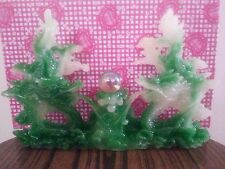 """9""""L Chinses Lucky Green Money Wealth Double Dragon Statue"""