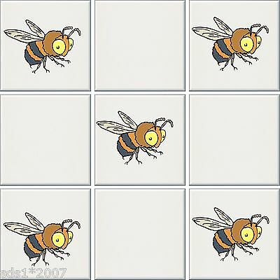 "6"" Or 4"" Tile Transfers Stickers 5 X Butterfly Bees Daisies Full Color Hd Print Uitstekende (In) Kwaliteit"