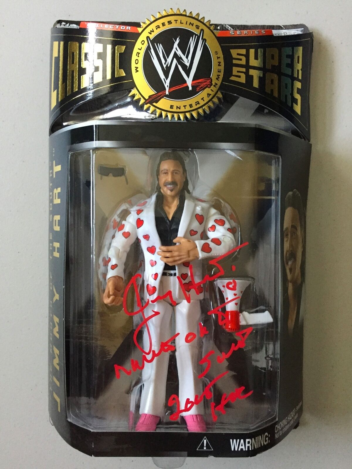 WWE Classic Superstar MOUTH OF THE SOUTH JIMMY HART Autographed Wrestling Figure