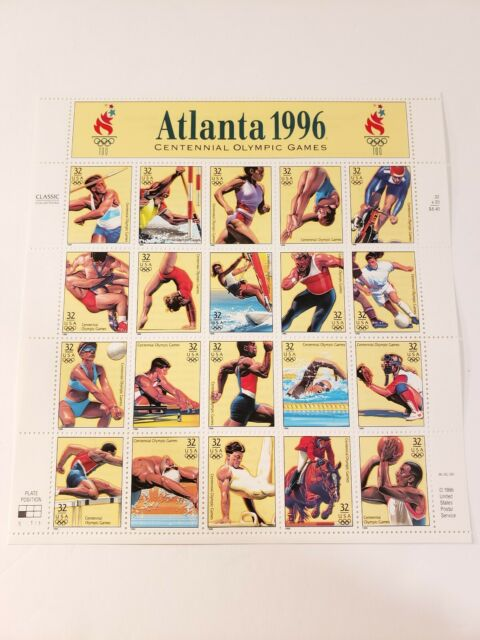 USPS Sheet of 20 .32 cent Atlanta 1996 Centennial Olympic Games Stamps