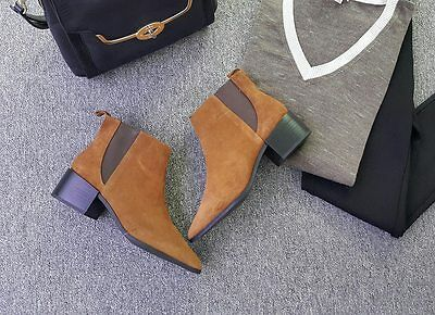 Zara Tan Brown Suede Leather Ankle Chelsea Bootie Elastic Side US6.5-8