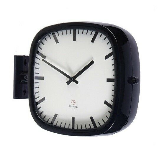 Moderne Carré Double Face Horloge Murale Design station horloge décoration maison-P205BK