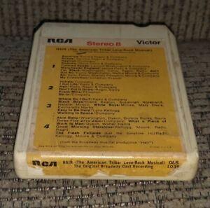 "VINTAGE ""HAIR"" BROADWAY CAST RECORDING 8 TRACK TAPE cartridge album RCA O8S-1038"