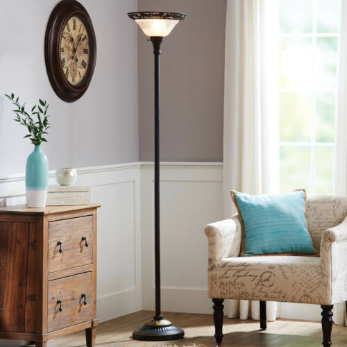 Better Homes Gardens Victorian Floor Lamp Etched Glass Shade