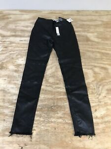 DL1961-Haven-High-rise-Leggings-Skinny-Jeans-Coated-Womens-26-Black-Stretch-Edgy