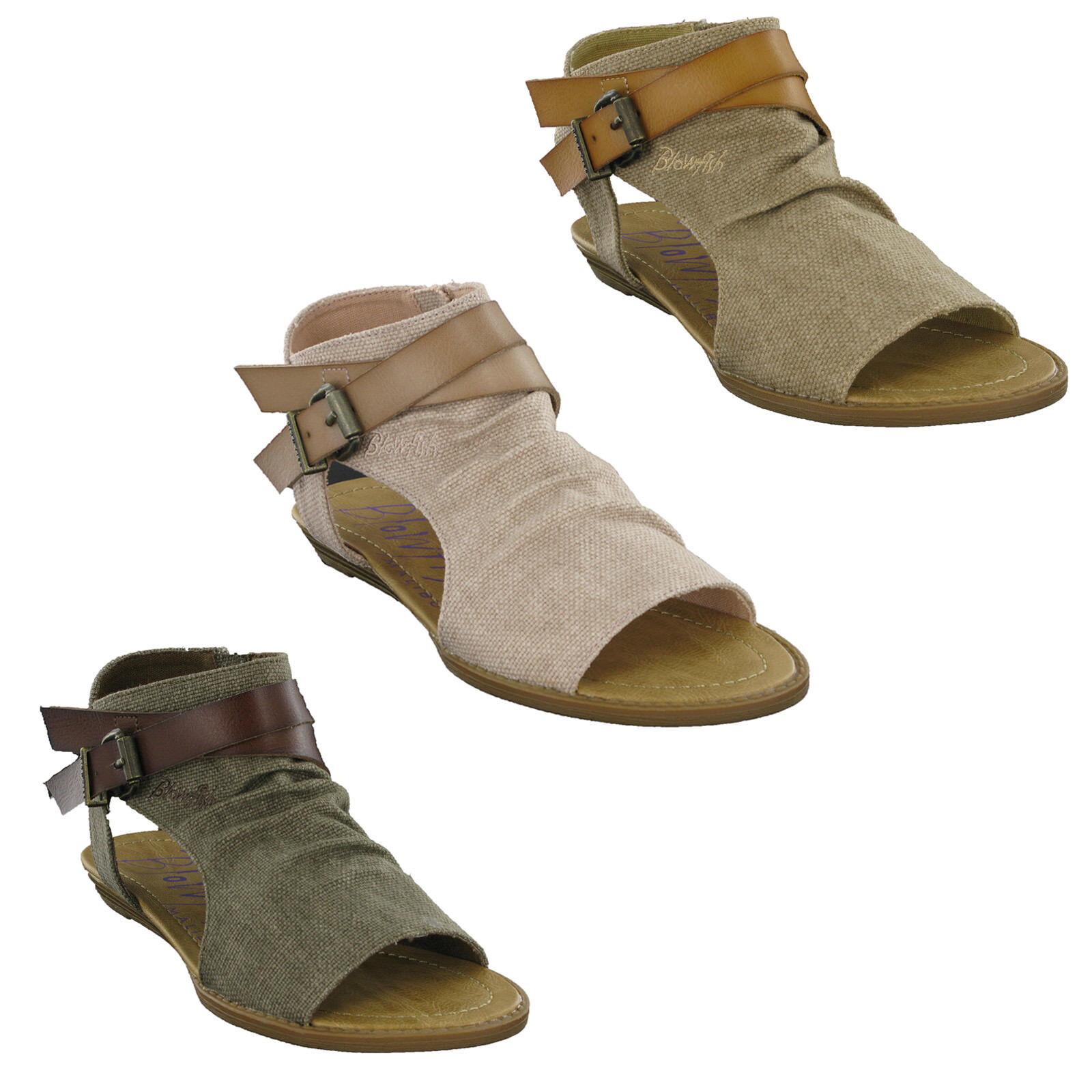 Blowfish Balla Flats Femmes Bout Ouvert Fashion Sandales décontractées à fermeture éclair Chaussures Pointure