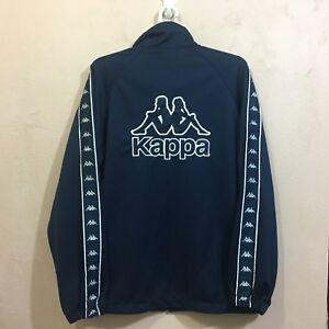 Details about VINTAGE KAPPA SIDE TAPE TRACK TOP JACKET BIG LOGO SPELL OUT DARK BLUE SIZE L
