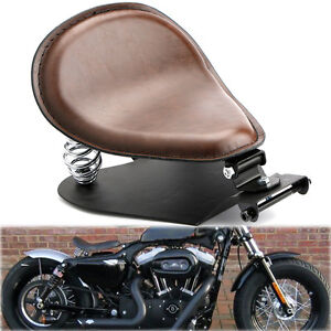Brown-Leather-SOLO-Seat-Pan-Cover-Frame-3-034-Spring-Kits-For-Harley-Bobber-Chopper