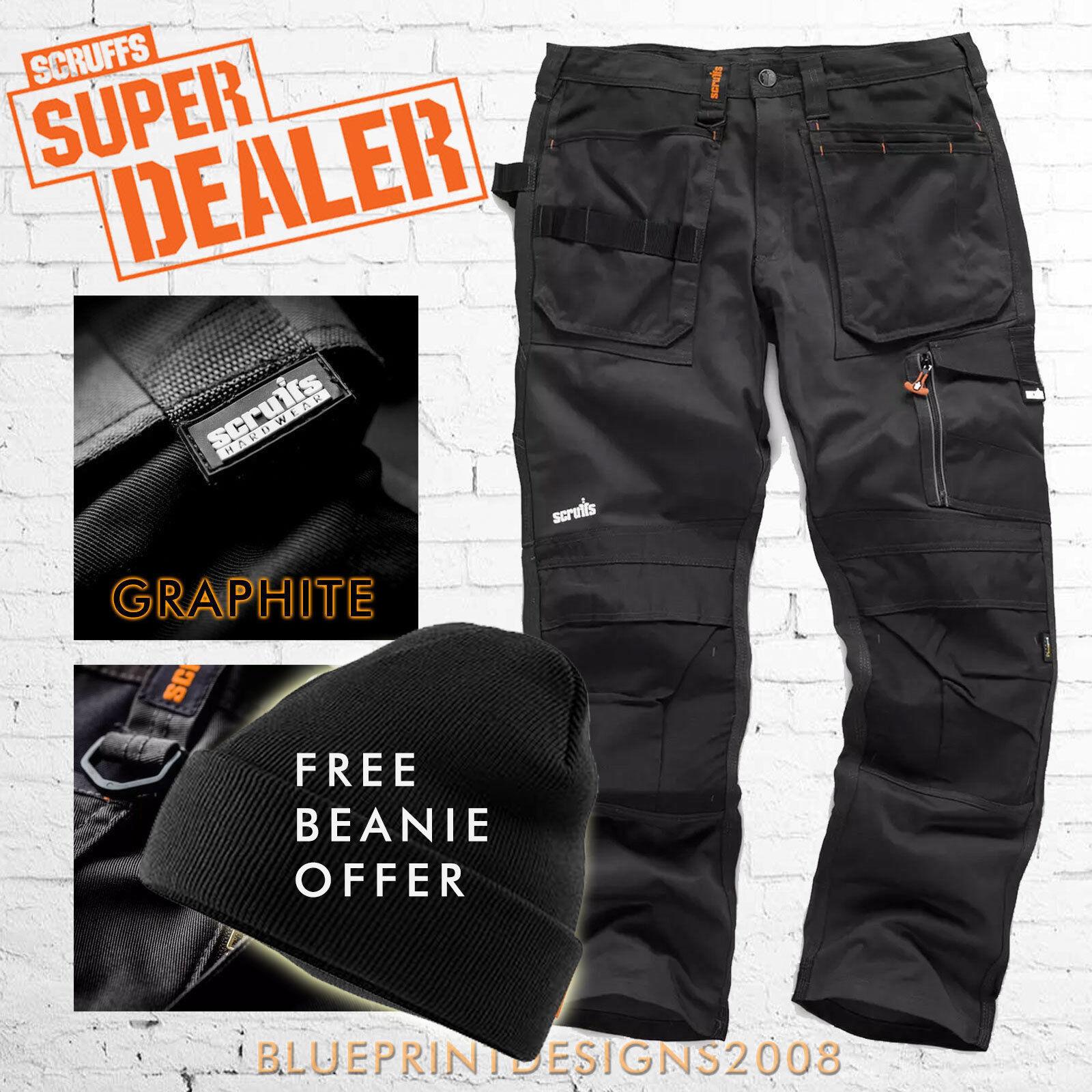 Scruffs 3D TRADE GRAPHITE CORDURA Cargo Combat Trousers plus FREE BEANIE