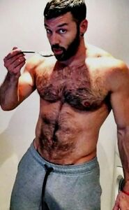 Shirtless Male Muscular Beefcake Hairy Chest Abs Beard Beefy Guy ...