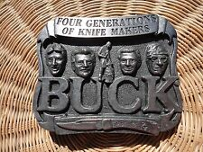 BUCK Pewter BELT BUCKLE~ Four Generations of Knife Makers~Smoky Mtn. Knife Works