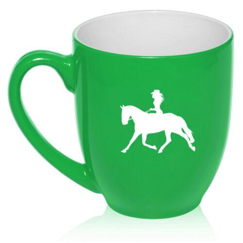 16oz Bistro Mug Ceramic Coffee Tea Glass Cup Cowgirl Riding Horse