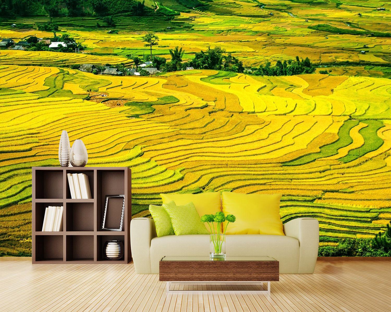 3D Yellow Field 773 Wallpaper Mural Paper Wall Print Wallpaper Murals UK