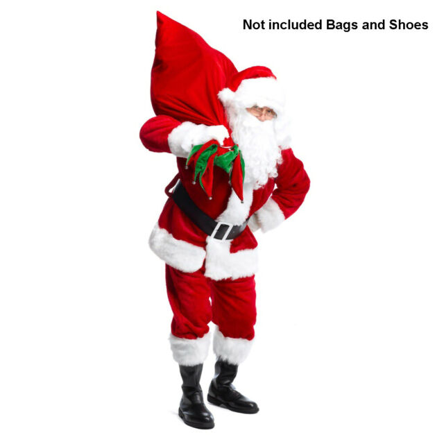 Santa Hat WITH BEARD Christmas Holiday Xmas Cap for Santa Claus Costume NEW