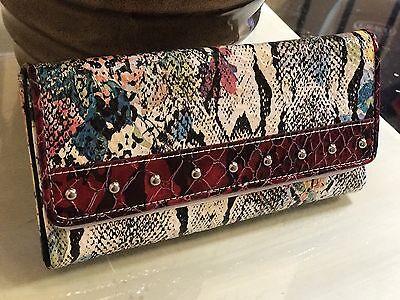 NWT Designer Inspired BB Rentano Women/'s Denim Faux Leather Clutch Long Wallet
