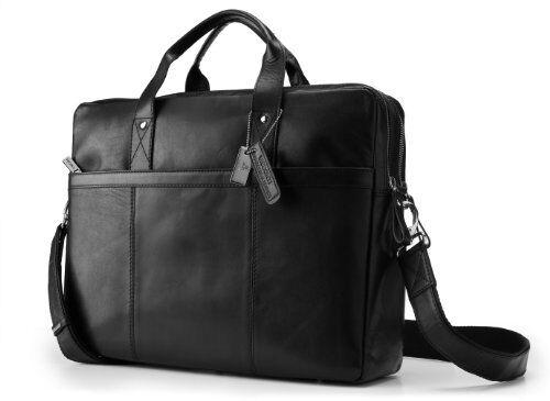 Visconti ML24 Large Black Leather Messenger Bag Shoulder Laptop CaseHandbag