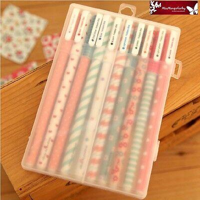 """Happy Day"" 10 Pcs Black Ink Rollerball Pens Gel Pen Pens Box Cute Stationery"