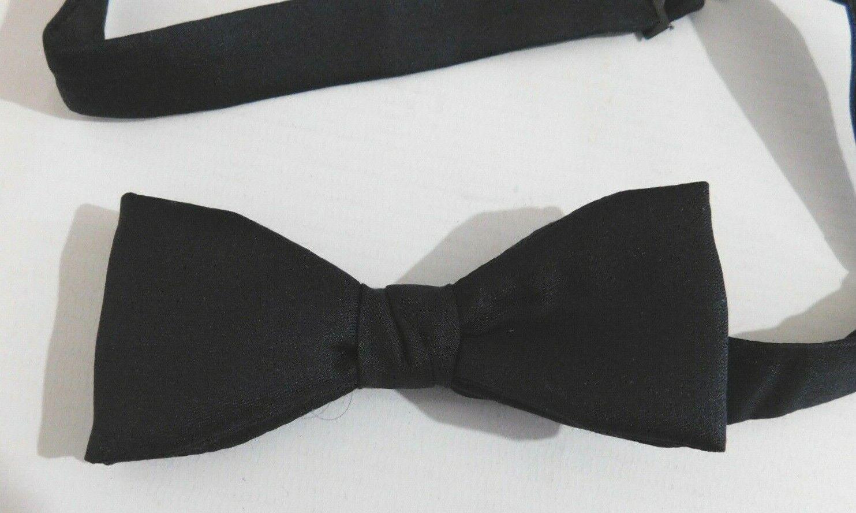 Mens Pure Silk Pre Tied Slim Bow tie Black 13.5