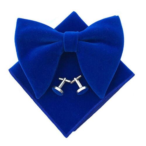 USA Shipping Men Velvet Oversize Bow Tie Pocket Square Cuff Links Wedding Set
