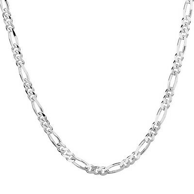 Xmas 925 Sterling Silver Plated Chain Figaro Necklace 16-30 2mm Snake Pendant