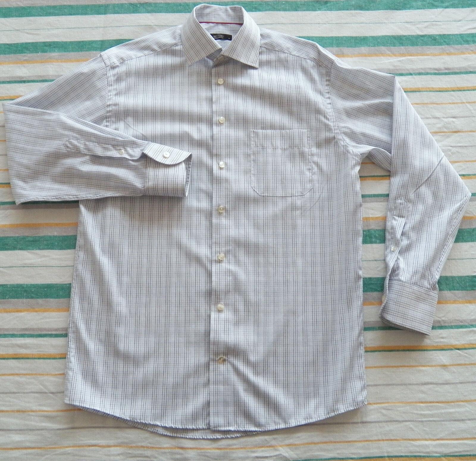 Eton Sweden herren hemd Größe 40 SHORT 15 3 4 15.5 Weiß Blau Check Twill baumwolle