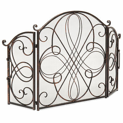 Black 3 Panel Brushed Wrought Iron Metal Fireplace Screen Cover Decor Protector Ebay