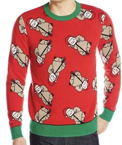 Sloth Christmas Sweater.Details About Alex Stevens Men S Santa Ugly Christmas Sweater Men S Sloth Bonanza Red Small