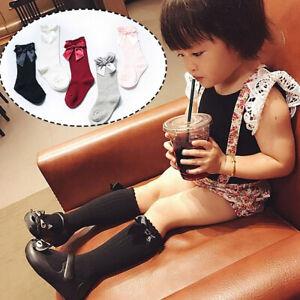 1 Pair Baby Girl Toddler Children Knee High Cotton Bowknot Socks School Socks
