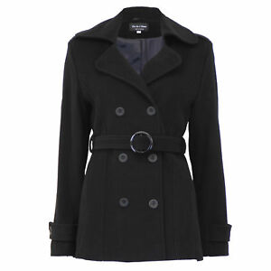 Ladies-Wool-Cashmere-Coat-Womens-Jacket-Double-Breasted-Belt-Checked-Trench-New