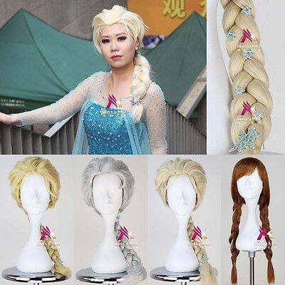 Disney Movie Froze Snow Wig Queen Elsa Anna Wig Long Weaving Braid Cosplay Wig