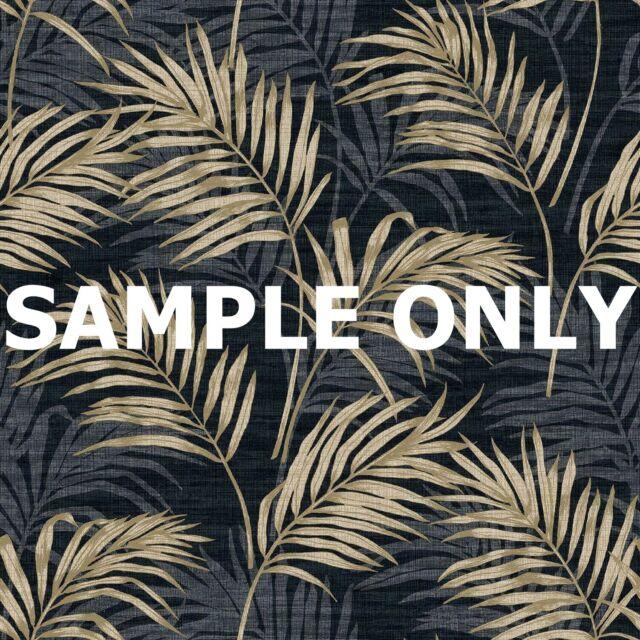 Grandeco Lounge Palm Wallpaper Metallic Silver Gold Ochre Black Teal Tropical