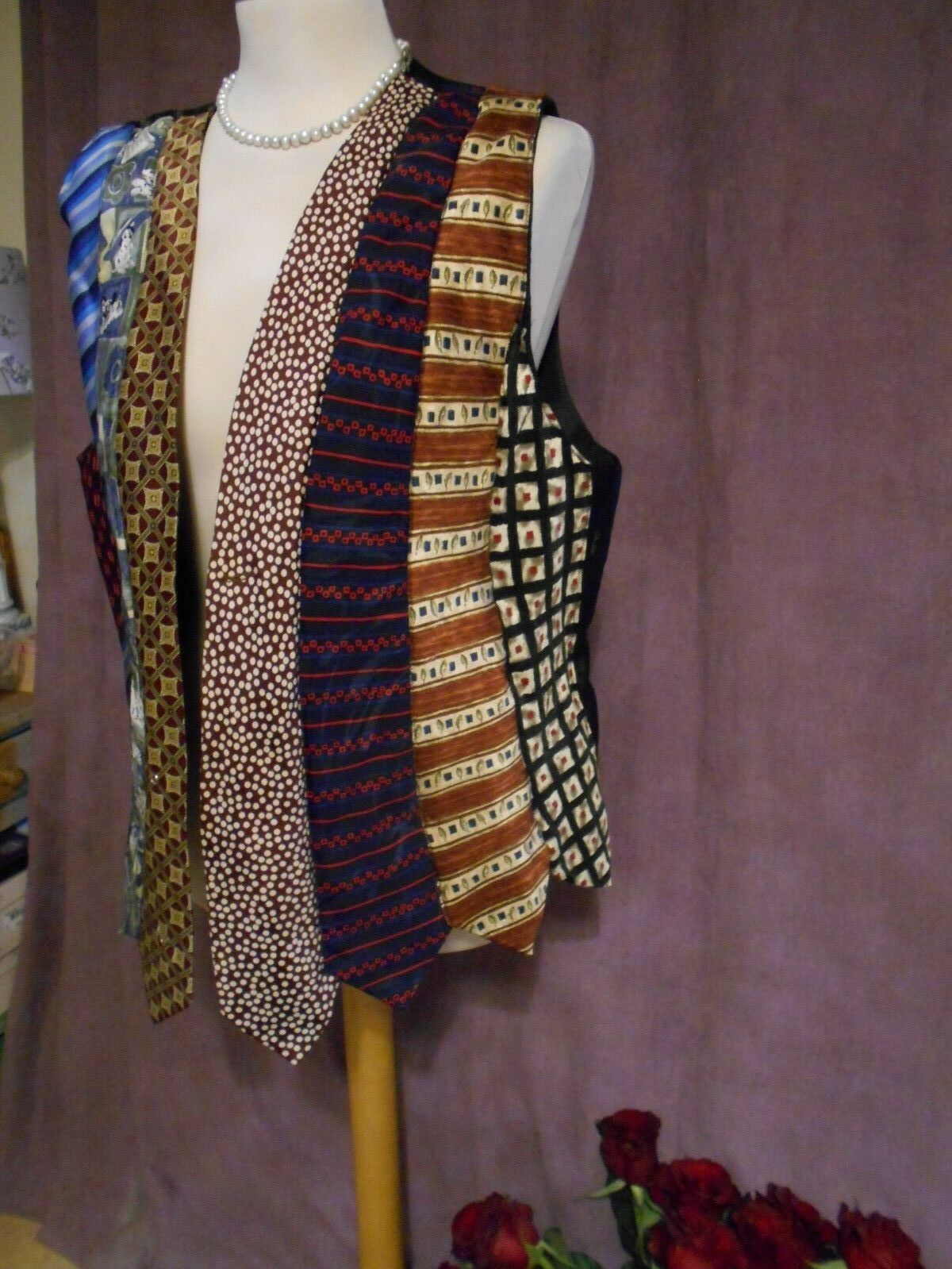 QUIRKY WAISTCOAT MADE FROM  Herren SILK TIES BOHO HIPPY FESTIVAL PEASANT Größe M/L