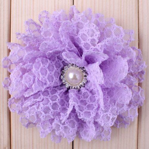 """perle tissu doux fleurs pour Bandeaux 120pcs 4/"""" Chic Shabby Dentelle Cheveux Fleurs"""
