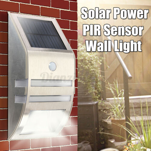Solar Powered PIR Motion Sensor 2-LED Security Light Garden Wall Steps