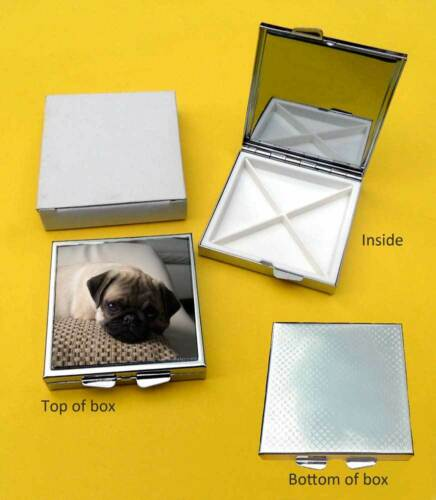 Pug Colour Dog Polished Metal Square Pill Box Gift