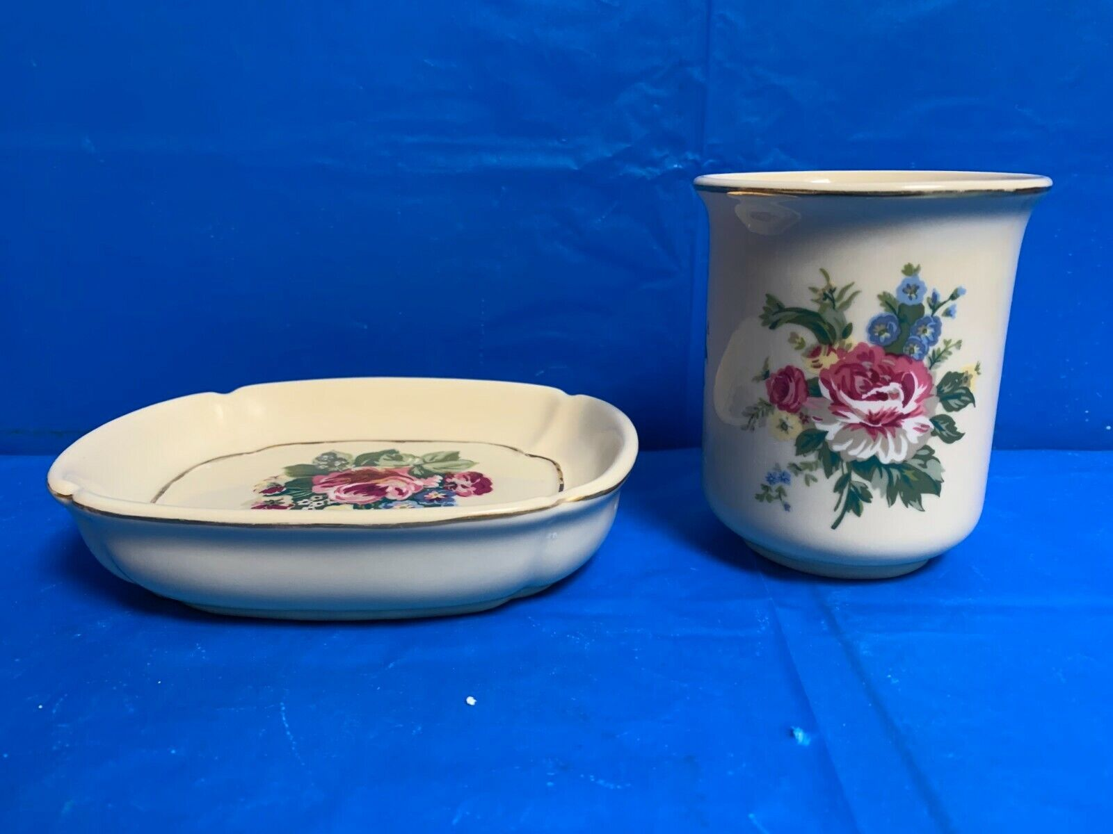 Vintage Spring Maid Ceramic Soap Dish & Cup with Rose Pattern