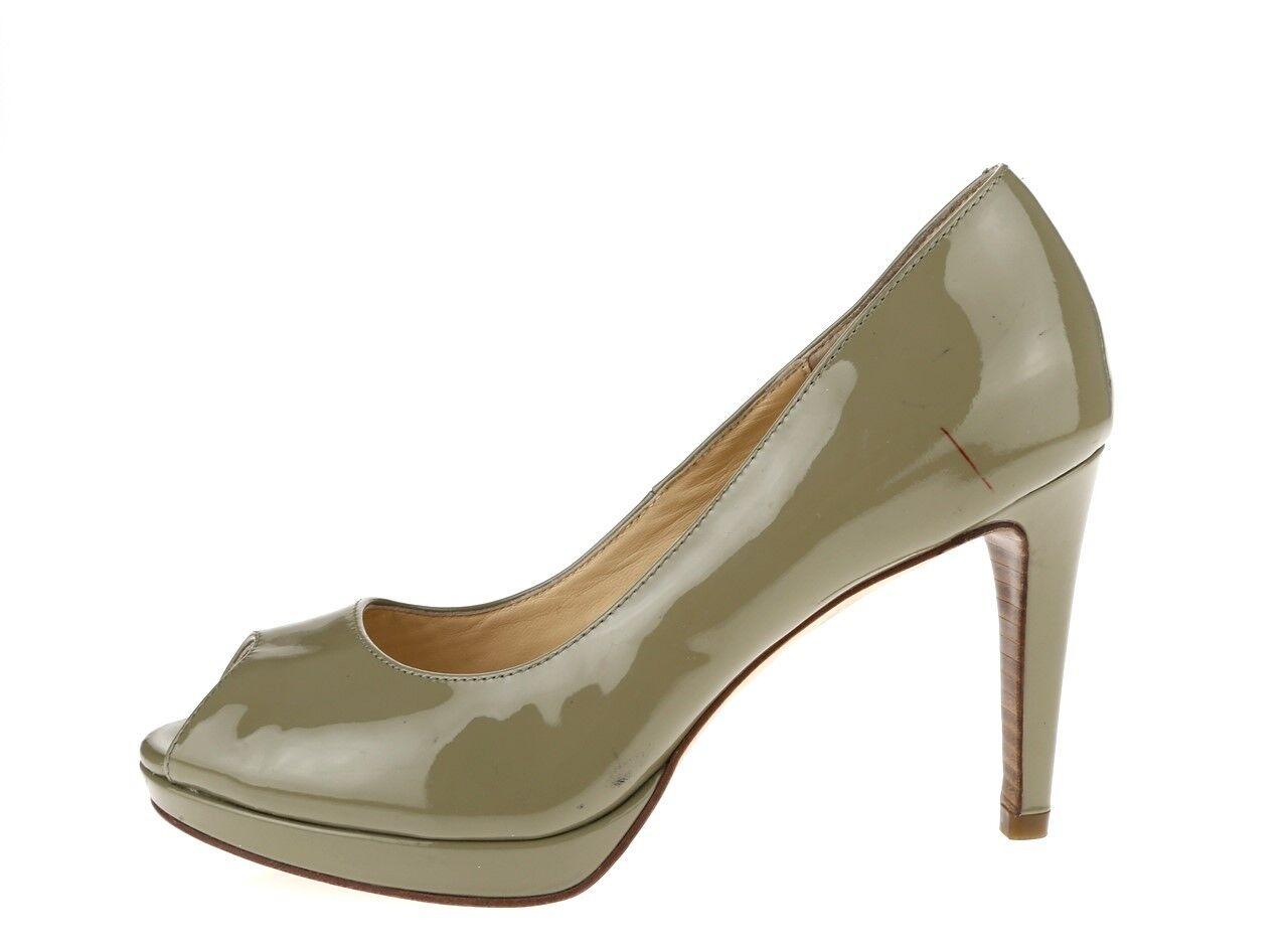 Damenschuhe COLE HAAN 225667 olive green patent Leder open toe pumps sz. 6 B