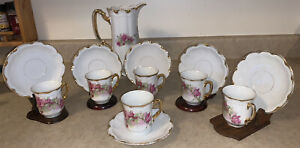 Vtg-Germany-Three-Crown-China-8-5-Chocolate-Coffee-Rose-Floral-6-Cups-Saucers