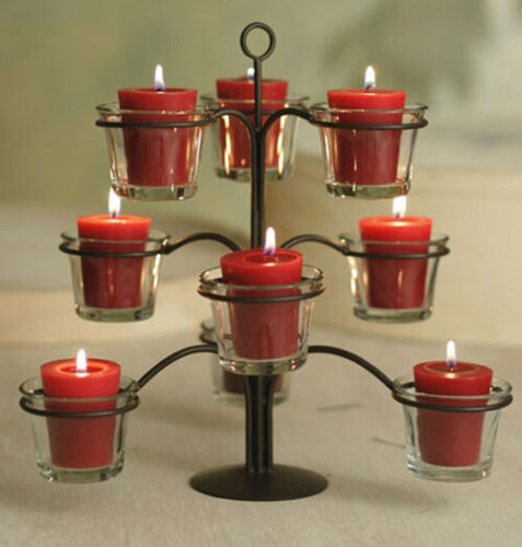Amish Hand Crafted 9 Votive Cup Wrought Iron Candelabra Center Piece USA Made