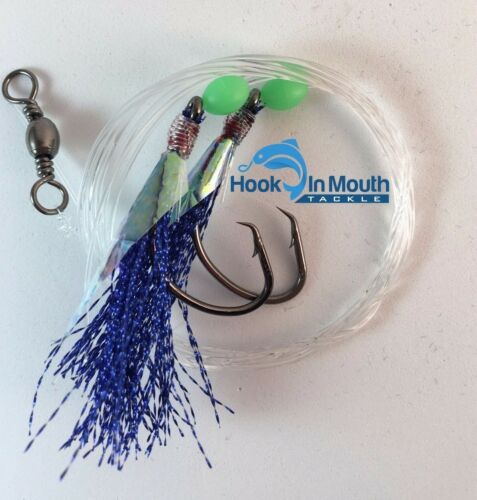 10 Flasher Fishing Rigs Blue Paternoster 60lb 50 Hooks Snapper Flathead