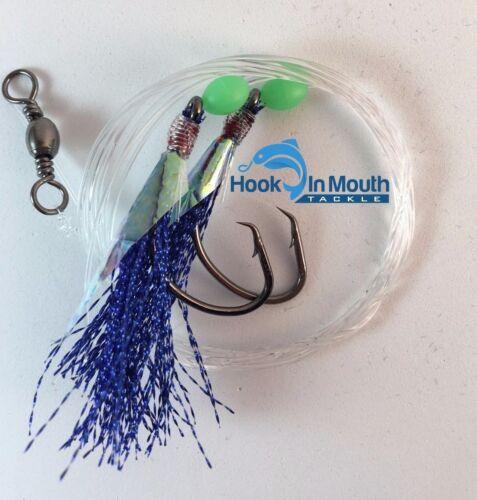 60lb Blue 3 Gummy Shark Fishing Rigs Paternoster 5//0 Circle Hooks