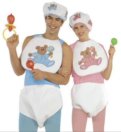 BABY DRESS UP SET ADULT NAPPY BIB BONNET FANCY DRESS MALE FEMALE UNISEX