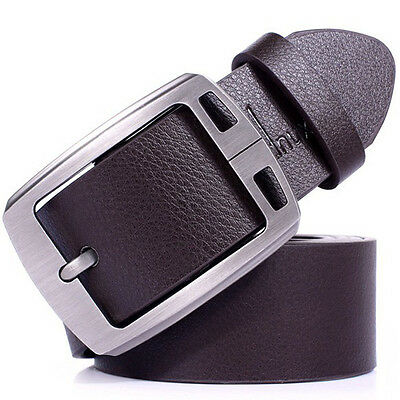 Mens Genuine Leather Cowhide Vintage Classic Jean Pin Buckle Belts Brown K71A