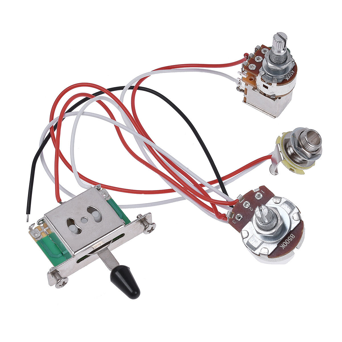 Electric Guitar Wiring Harness Prewired Kit 3 Way Toggle Switch 1v1t 500k Pots Ebay